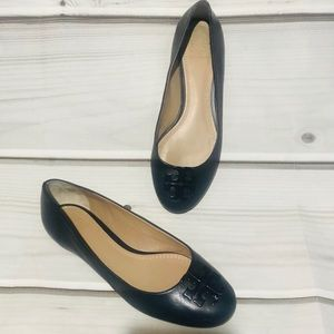 Tory Burch Navy Leather Flats